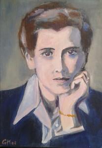 Elisabeth Eybers. olieverf op doek, 30 x 40 cm